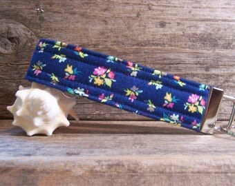 Navy blue romantic key fob with small flowers , key ring,strap for keys ,wristlet,romantic  fob.blue fob with flowers.