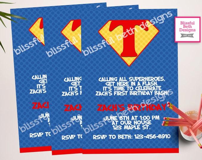 SUPERMAN BIRTHDAY INVITATION, Personalized Superman Printable Birthday Invitation, Superman, Superman Birthday, Superhero Birthday