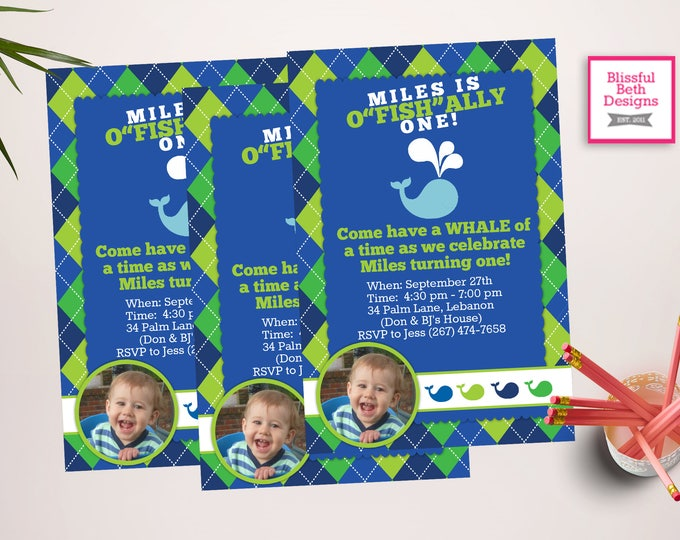 Whale First Birthday,  O'fishally One, Officially One, Catch a Good Time, Whale Invitation,  Birthday Whale, Photo Invite, O'fish'alll
