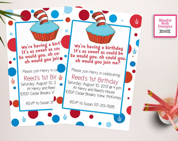 SEUSS BIRTHDAY INVITATION Dr. Seuss Birthday Invitation, Personalized Seuss Invite, Printable Seuss Birthday Invitation, Seuss Birthday