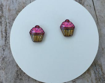 Cupcake earrings, food jewelry, birthday jewelry
