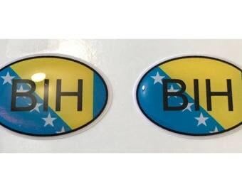Bosnia BIH Domed Gel Stickers (2x) for Laptop Tablet Book Fridge Guitar Motorcycle Helmet ToolBox Door PC Smartphone
