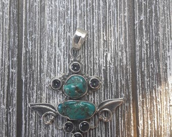 Genuine turquoise and Mystic topaz sterling silver pendant