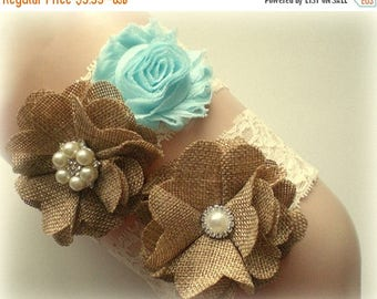 SALE BEST SELLER - Bridal Garter Set - Keepsake & Toss Wedding Garters - Burlap Aqua Chiffon Flower Lace Garter - Ivory - Rustic - Garder