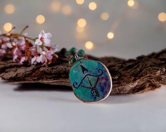 Sagittarius Astrology necklace- wood jewelry- bow and arrow- zodiac sign- zodiac necklace