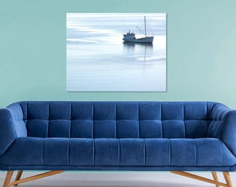 Nautical Decor Coastal Art | Large Nautical Wall Decor | Coastal Wall Decor | Large Coastal Wall Art Print | Nautical Pictures, Fishing Boat