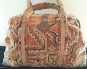 On Sale Carpetbags by America 1960's 1970's Carpet Leopard Handbag Purse * Boho Tapestry Bags * Hippie Handbags * Hobo Bags * Rockabilly Pur