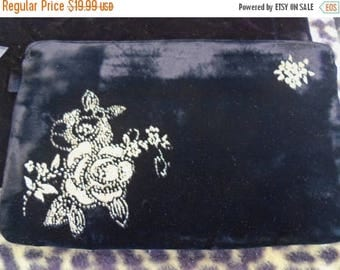 Now On Sale Black Velvet Clutch with Gold Flower Motif 1980's Vintage Mad Men Rockabilly Mod Bettie Paige Marilyn Monroe style