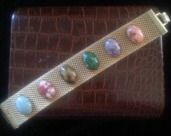 Now On Sale Vintage Sarah Coventry Bracelet * 1960's 1970's Collectible Retro Jewelry * Pink Purple Red Green Stones * Vintage Designer Sign