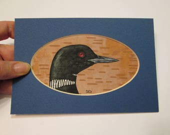 "Loon Portrait hand painted on birch bark by Ann Kelly - matted - 4"" x 6"""