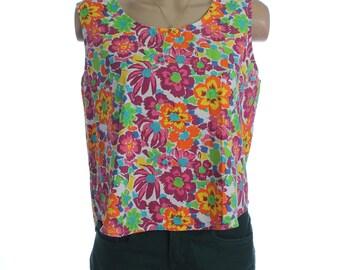Vintage 80s Green Pink Floral Print Cotton Vest V Bow Back Top Shirt UK 14 US 12
