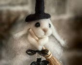 Needle Felted Witch Bunny with Broom Halloween Fall Felt Cute Rabbit