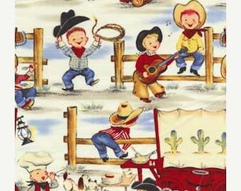 12% off thru July LIL COWPOKES Michael Miller fabric by the 1/2 yard cowboy kids ponies horses