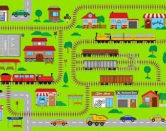 Northcott Fabric panels CONNECTOR PLAYMAT  cotton quilt fabric-21139-72 railroad tracks train station