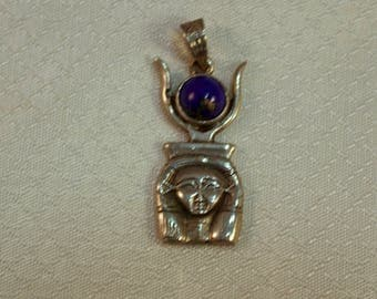 Egyptian Revival Sterling Sarcophagus and Lapis Pendant, Egyptian God Pendant