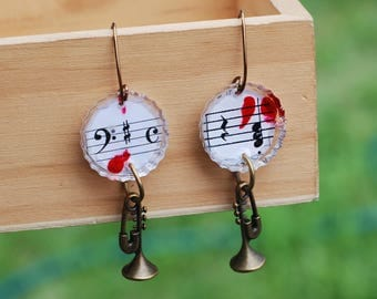 Music In My Blood Handmade Earrings Trumpet Musical Note Resin Musical Charm