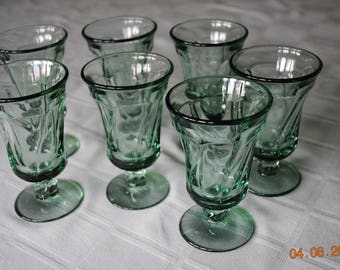 Fostoria 7 Soft Light  Green Juice Glasses in The Jamestown Pattern
