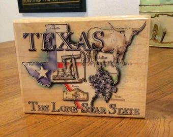 Texas theme rubber stamp DESTASH never used