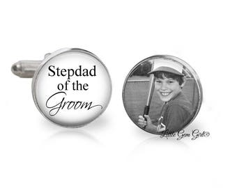 Stepdad of the Groom Custom Photo Cuff Links - Personalized Stepfather Wedding Picture Cufflinks - Sterling Silver or Stainless