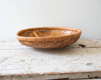 Woven African Vintage Basket - Brown - Wicker Woven Wooden Natural Orange Brown Tan Basket Fruit Basket Container