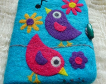 notebook cover , sketchbook, felted, felt, journal, A5, eco friendly, handcrafted, felted flowers, books, natural