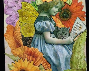 Mixed Media Original Art Collage/ Fairy Princess & Her Cat / Fairytale/Free Shipping