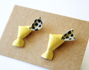 Gold leather earrings, loops with a black polka dot pattern