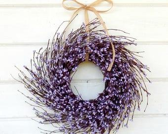 MINI Twig Wreath-Purple Wreath-Mini Window Wreath-Spring Wreath-Farmhouse Wreath-Country Chic Wall Hanging-Rustic Decor-Centerpiece-Gifts