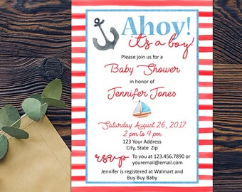 Nautical Watercolor Baby Boy Baby Shower Invitation-Sailboat-Anchor-DIGITAL INVITATION-Printable Invite Card - Red Blue White