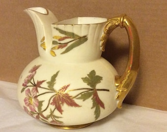 Antique Royal Worcester Pitcher Jug 1899 English BlushWare