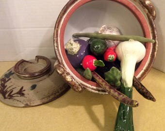 """Handmade 1982 Ceramic Vegetables Kitchen De'cor Artist Made Signed """"Perfect Accents"""""""