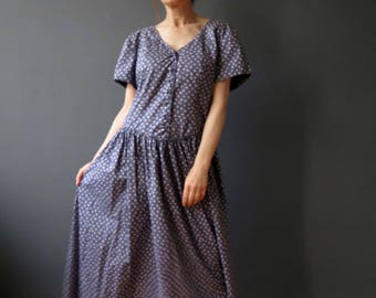 Vintage 80s Chambray Blue Floral Market Day Dress Large Laura Ashley