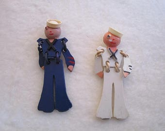 CHOOSE ONE 1 Vintage Articulated Military Buddy Pin Sailor Articulated Plastic Sailor Blues OR White Sweetheart Bakelite / Celluloid 1940s