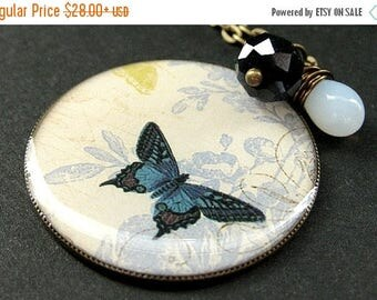 SUMMER SALE Cadet Blue Butterfly Necklace. Charm Necklace with Midnight Blue Crystal and Wire Wrapped Teardrop. Handmade Jewelry.