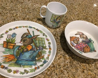Vintage Peter Rabbit Bowl plate  cup- Oneida plastic childs dishes