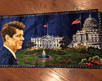 Velvet JFK Italian Wall Tapestry Rug John F Kennedy Historical Souvenir white house president mid century decor