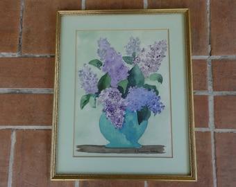 Vintage watercolor signed Lilac flowers framed art Pennsylvania Seidel floral purple