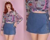 90s Denim Skort/ US 12/ 1990s