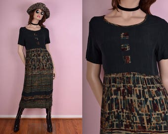 90s Dark Green Printed Maxi Dress/ US 10/ 1990s/ Short Sleeve