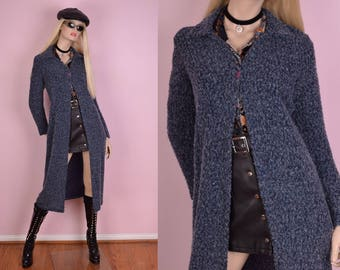 90s Blue Sweater Duster/ Medium/ 1990s/ Long Sleeve/ Cardigan