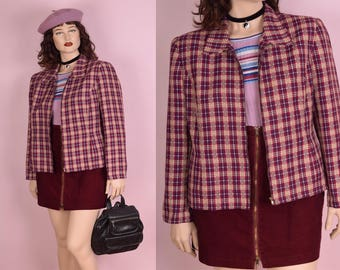 90s Plaid Lightweight Tweed Jacket/ US 12/ 1990s
