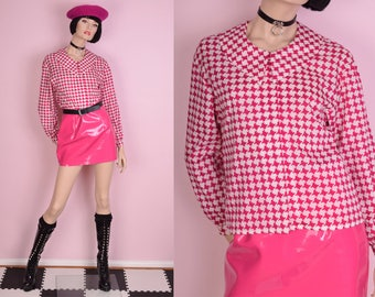 80s Pink and White Houndstooth Blouse/ Small/ 1980s