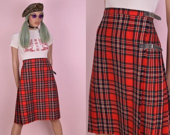 VTG Plaid Kilt/ 29.5 Waist/ Vintage/ Tartan/ Wrap Skirt/ Pleated