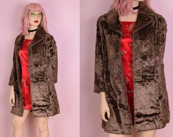 60s 70s Light Brown Faux Fur Coat/ Small/ 1960s/ 1970s