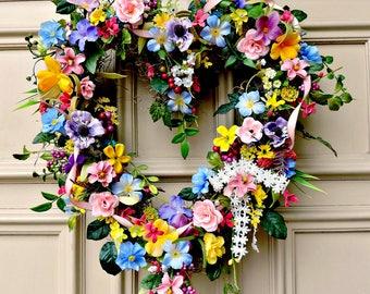 Valentine Heart Wreath, Wildflower Heart Wreath, Valentine Front Door Wreath, Mother's Day Wreath, Wildflower Cottage Wreath, Door Decor