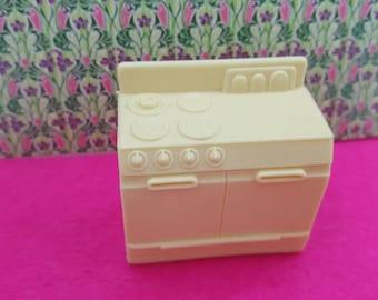 Superior  Kitchen Stove  Cream white  soft Plastic Toy Dollhouse Traditional Style