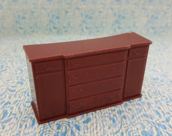 Marx Dining room  Sideboard  Toy Dollhouse Traditional Style Rust Soft plastic