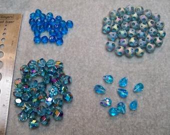 Bead Set Aqua Blue Destash Glass n Crystal