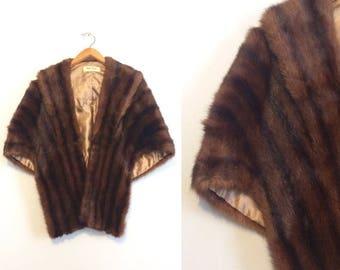 ON SALE Vintage 50s Mink Stole / Brown Fur Shrug Wrap / Mid Century Mink Cape / Wedding Stole