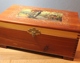 Vintage Carved Cedar Treasure Chest Jewelry Box Decoupaged Brass Hardware Mirror with Gold Paper Trim